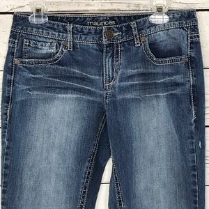 Maurices Jeans Blue Low-Rise Bootcut Factory Faded